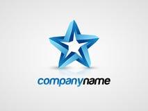 blå stjärna för logo 3d royaltyfri illustrationer