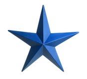 Blå stjärna som isoleras över vit bakgrund Royaltyfri Foto