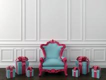 Blå stol med gåvor royaltyfri illustrationer