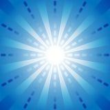 Blå strecklinje med startbristning i mitten för abstrakt bakgrundsbegrepp Royaltyfri Fotografi