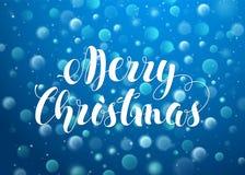 Blå suddig bakgrund med Bokeh ljus för mall för vektor för hälsningkortdesign Textbokstäver för glad jul Hand Royaltyfria Bilder