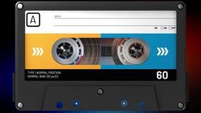 Blå, svart och gul ljudkassett med klistermärken och etiketten lager videofilmer