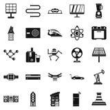 Blå symbolsuppsättning för elkraft, enkel stil vektor illustrationer