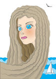 blå synad flicka Royaltyfri Foto