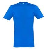 Blå t-skjorta som isoleras på vit bakgrundsåtlöje upp Royaltyfri Foto