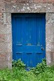 Blå tappningdörr med ogräset royaltyfri foto
