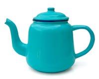 blå tea för kaffeemaljkruka arkivfoto