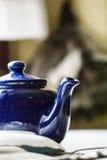 blå teapot Arkivbild