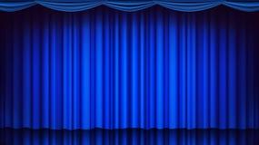 Blå teatergardinvektor Tom siden- etapp för teater, för opera eller för bio, blå plats realistisk ballonsillustration vektor illustrationer