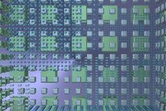 Blå techbakgrund med kuber Royaltyfria Foton