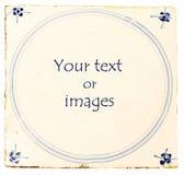 blå tegelplatta för delft holländsk lokaltext Arkivbild