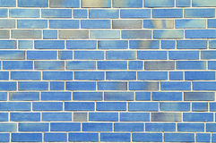 blå tegelstenvägg Arkivbild