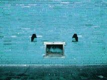 Blå tegelstenvägg med textur för skalningsmålarfärgbakgrund royaltyfri bild
