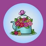Blå tekanna med en bukett av färgrika blommor stock illustrationer