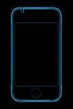 blå telefonstråle genomskinligt x Royaltyfri Fotografi