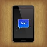 Blå textbubbla i telefon också vektor för coreldrawillustration Royaltyfria Bilder