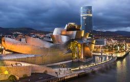 Blå timme Guggenheim Royaltyfri Fotografi
