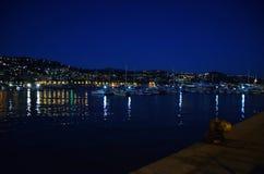 Blå timme på porten av Sanremo Royaltyfria Bilder