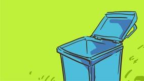 Blå tom soptunna för tecknad film på gräset Arkivbilder