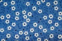 Blå torkduketexturbakgrund med gjorde randig vita blommor Royaltyfri Bild