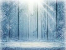 Blå träbakgrund och vinter vita röda stjärnor för abstrakt för bakgrundsjul mörk för garnering modell för design Sol Ray Fotografering för Bildbyråer