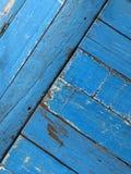 Blå trätabellöverkant arkivfoto