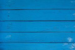 Blå trätabell- eller väggtextur för tappning Arkivbild