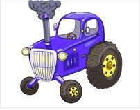 Blå traktor för tecknad film royaltyfri illustrationer