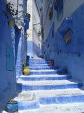 Blå trappa med färgrika vaser i den blåa staden royaltyfri foto