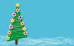 blå tree för julcopyssnow arkivbild