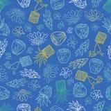 Blå tropisk modell för vektor med ljust rödbrun blommor, korgväxter och keramiska krukor för bali stil G?ra perfekt f?r tyg, Scra royaltyfri illustrationer