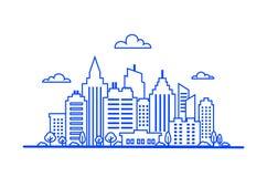 Blå tunn linje stadslandskap I stadens centrum landskap med höga skyskrapor Panoramaarkitektur Regerings- byggnader stock illustrationer