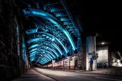 Blå tunnel 1 Arkivfoton