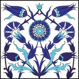 Blå turkisk blom- tegelplattamodell Royaltyfri Fotografi