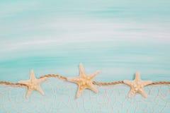 Blå turkosbakgrund med sjöstjärnor eller skal Arkivbilder