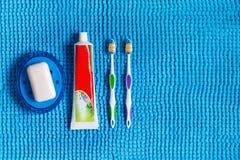 Blå tvålmaträtt med vit tvål, kulöra tandborstar och röret av Royaltyfria Bilder