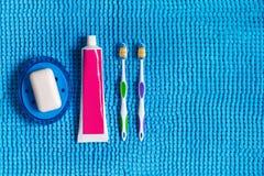 Blå tvålmaträtt med vit tvål, kulöra tandborstar och röret av Fotografering för Bildbyråer