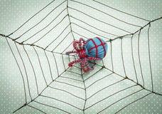 Blå ullspindel på spindelrengöringsduk över bakgrund för tappningtygtextur Fotografering för Bildbyråer