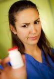 blå uniform slitage kvinna Arkivfoto