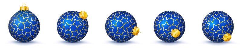 Blå uppsättning för bollar för silvervektorjul med textur - X-Mas Baub stock illustrationer