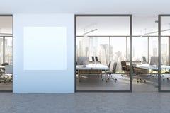 Blå väggkontorslobby, fyrkantig affisch, cityscape royaltyfri illustrationer