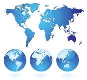 blå värld royaltyfri illustrationer