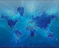 blå värld för dataöverföring stock illustrationer