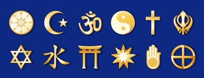 blå värld för guldreligionkunglig person stock illustrationer