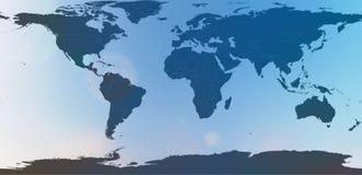 Blå världskarta i suddigt bakgrundshimmelabstrakt begrepp Arkivfoto