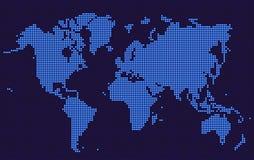 Blå världskarta prucken stil Arkivfoton
