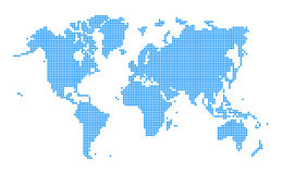 Blå världskarta prucken stil Royaltyfria Foton