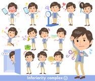 Blå västmen_complex för omslag stock illustrationer