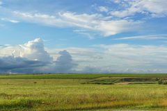 Blå vårhimmel med skurkrollmoln över de våta fälten och vingårdarna Arkivbild