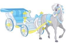 Blå vagn för saga Arkivbild